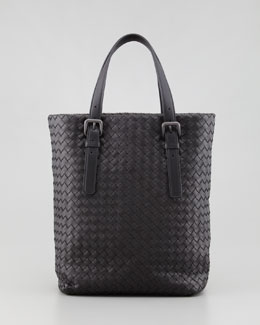 Bottega Veneta Small Woven Leather Box Tote Bag, Black