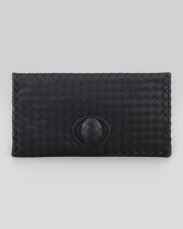 Bottega Veneta Full-Flap Turnlock Clutch Bag, Black