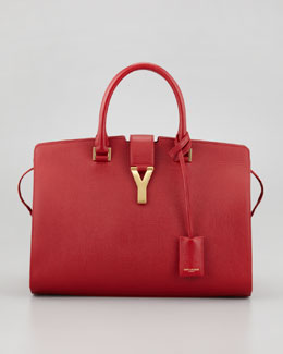Saint Laurent New Cabas Chyc Medium Textured Tote Bag, Red