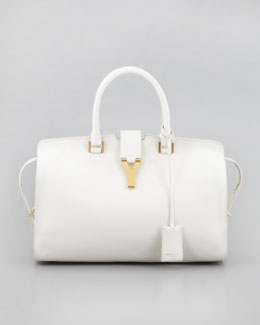 Saint Laurent New Cabas Chyc Medium Tote Bag, White
