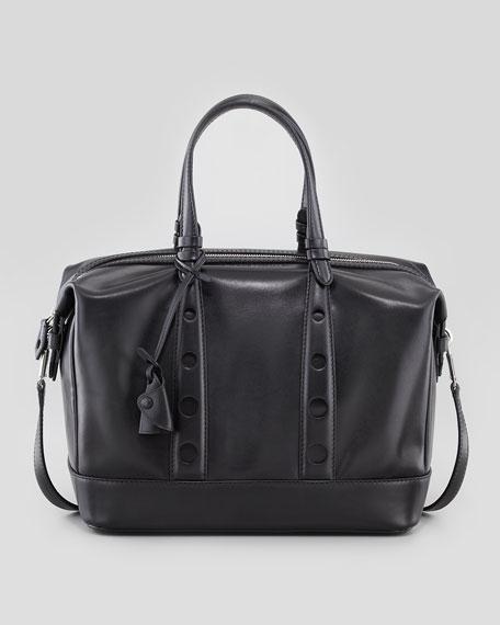 Box Horologe Leather Satchel, Black