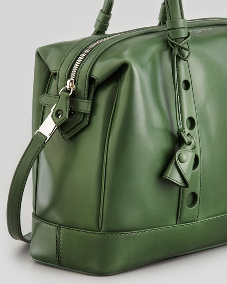 Box Horologe Leather Satchel, Dark Green