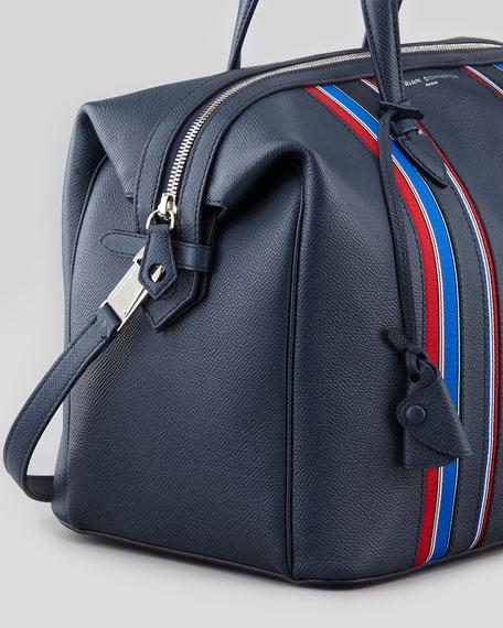 Striped Saffiano Bowler Bag, Navy