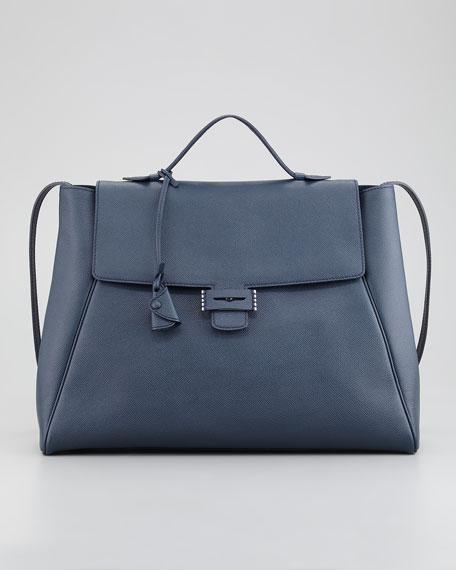 Byron Saffiano Flap Handbag, Navy
