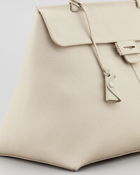 Lord Large Triangle Top-Handle Bag, Ivory