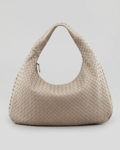 Medium Veneta Hobo Bag, Light Gray