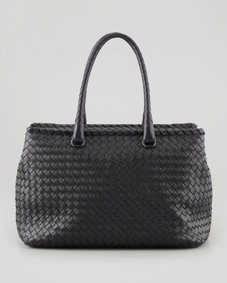 Brick Small Woven Top-Handle Bag, Black