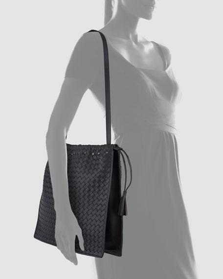 Large Drawstring Woven Shoulder Bag, Black