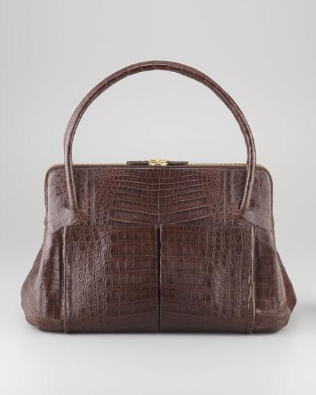 Linda Medium Crocodile Satchel Bag, Chocolate