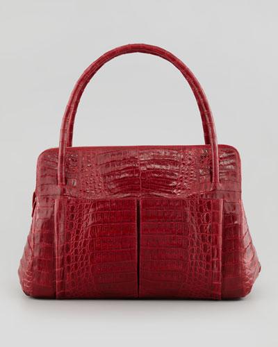 Linda Medium Crocodile Satchel Bag, Red