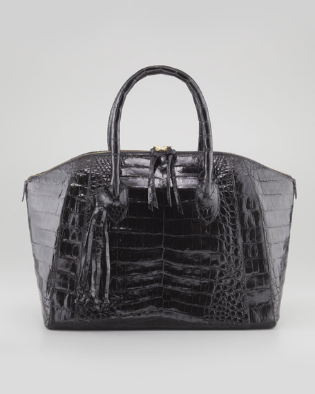 Medium Crocodile Domed Tote Bag, Black