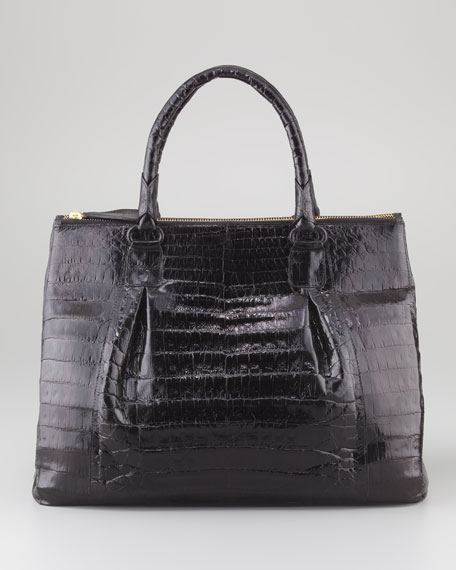 Executive Double-Zip Crocodile Tote Bag, Black