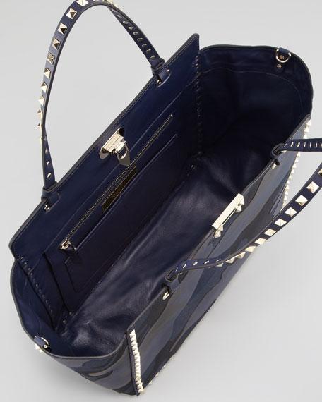 Rockstud Camo Canvas-Leather Medium Tote Bag, Blue