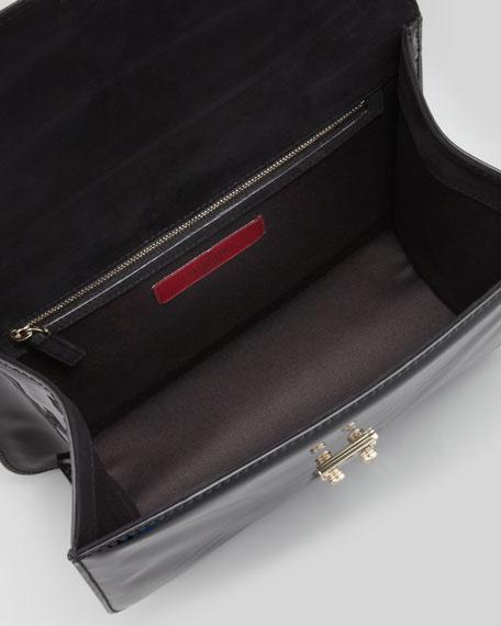 Punk Lock Jumbo Patent Shoulder Bag, Black