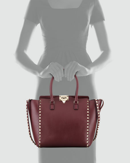 Rockstud Double-Handle Shopper Tote Bag, Wine
