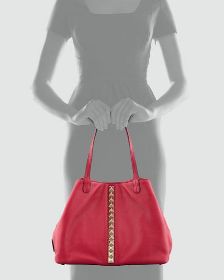 Rockstud Lock Vitello Tote Bag, Brown/Pink