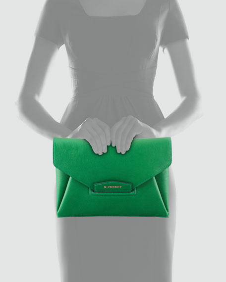 Antigona Sugar Envelope Clutch Bag, Emerald