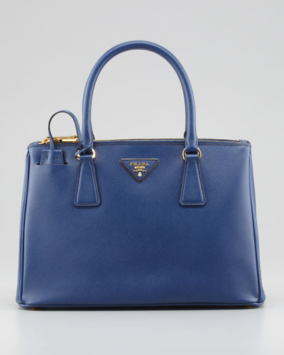 Saffiano Small Executive Tote Bag with Strap, Navy