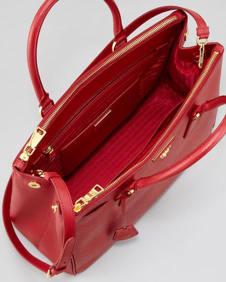 4e822f9d60d35a Prada Saffiano Small Double-Zip Executive Tote Bag, Red