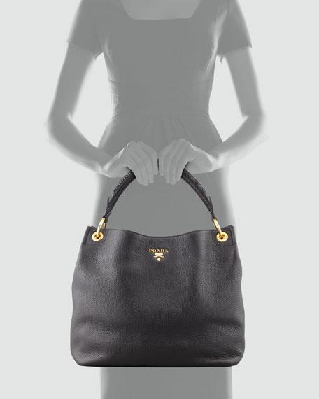 Daino Woven-Handle Hobo Bag, Black