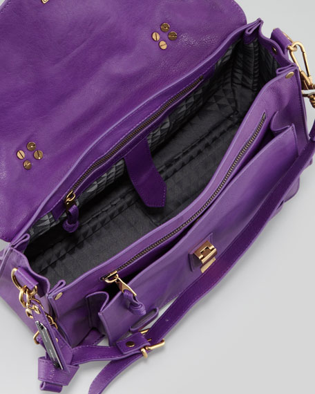 PS1 Medium Leather Satchel Bag, Eggplant