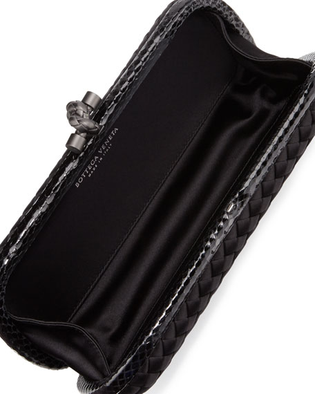 Satin-Snakeskin Stretch Knot Minaudiere, Black