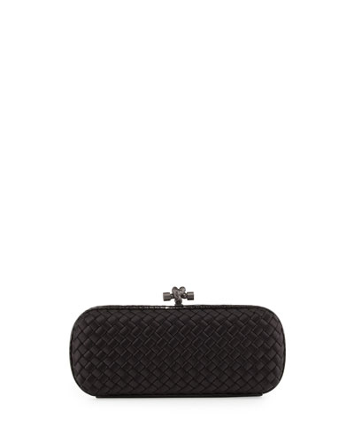 Satin-Snakeskin Stretch Knot Minaudiere, Black