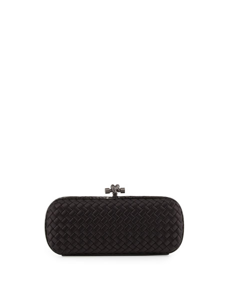 Bottega Veneta Satin-Snakeskin Stretch Knot Minaudiere, Black