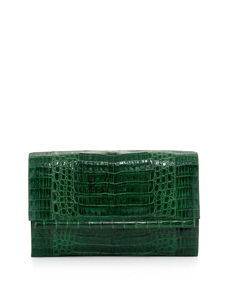 Large Crocodile Bar Clutch Bag, Green