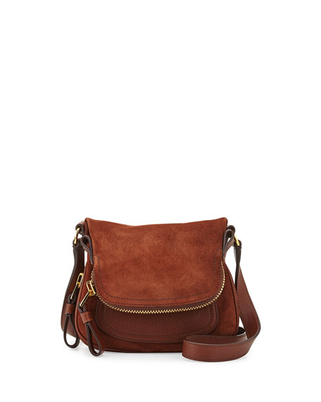 Jennifer Mini Suede/Leather Crossbody Bag, Brown
