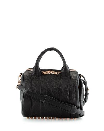 Rockie Crossbody Satchel Bag, Black/Rose Golden