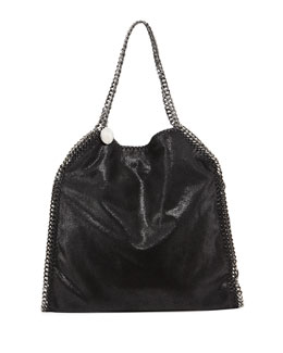 Falabella Shimmery Faux-Leather Big Tote Bag, Black