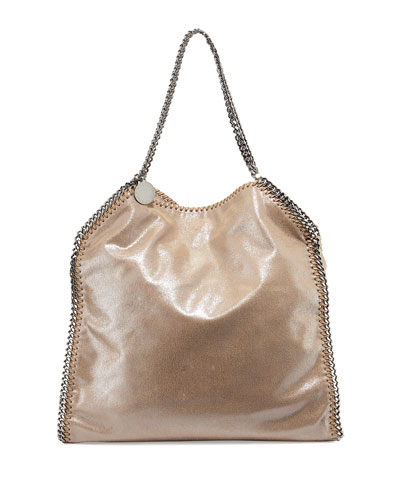 Falabella Shimmery Faux-Leather Big Tote Bag, Neutral