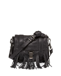 PS1 Leather Fringe Shoulder Bag, Black