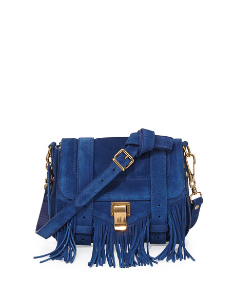PS1 Suede Fringe Shoulder Bag, Blue