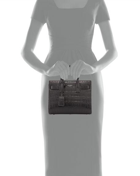 7e1f4758c70 Saint Laurent Baby Sac de Jour Croc-Embossed Bag, Black