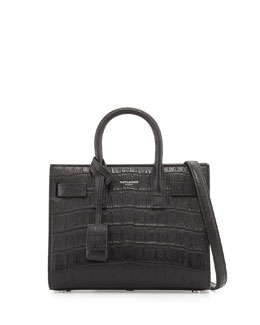 Baby Sac de Jour Croc-Embossed Bag, Black