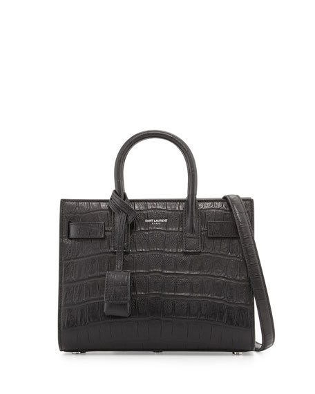 f1079c25e Saint Laurent Baby Sac de Jour Croc-Embossed Bag, Black