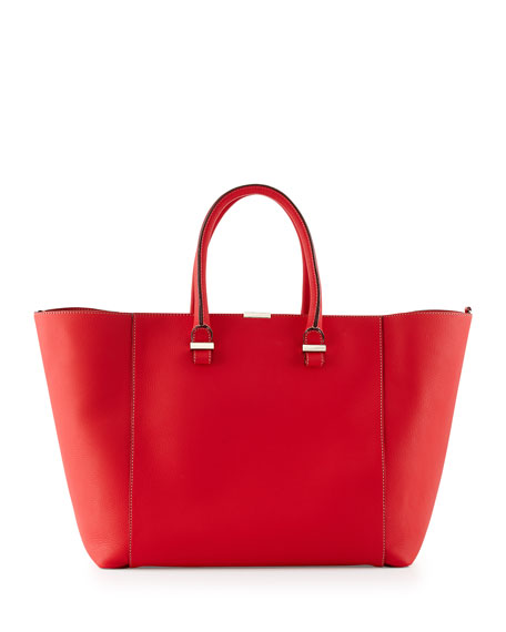 b2360bd9f85 Victoria Beckham Liberty Leather Tote Bag, Pompom Red