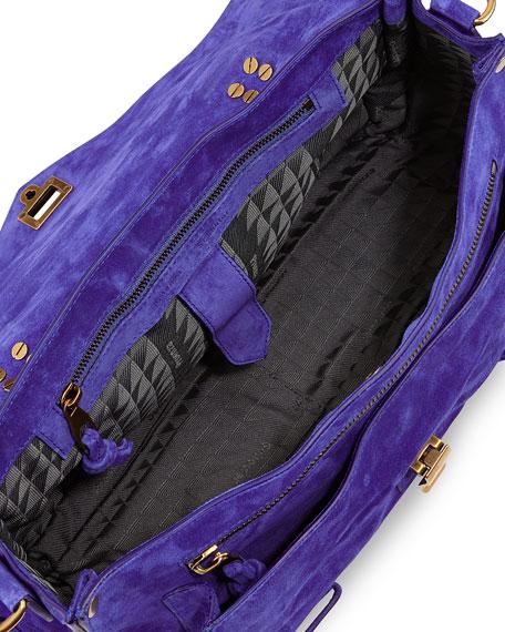 PS1 Medium Suede Satchel Bag, Royal