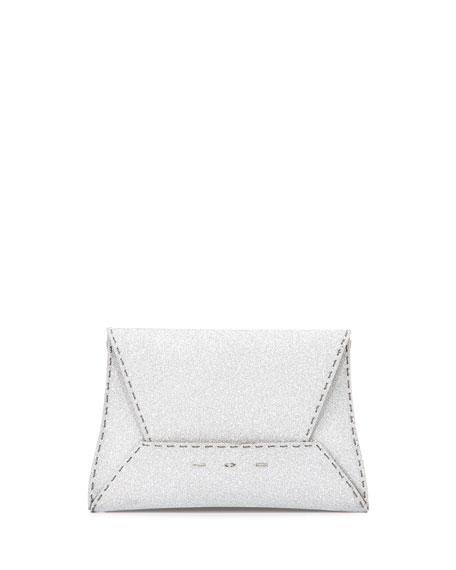 Manila 25 Glitter Clutch Bag, Silver