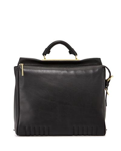 Ryder Leather Satchel Bag, Black