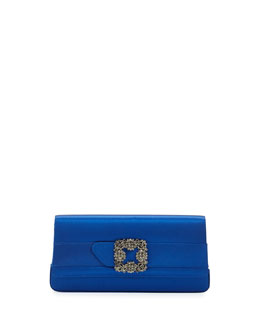 Gothisi Crystal-Buckle Satin Clutch Bag, Blue