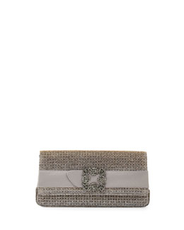 Gothisi Crystal-Buckle Metallic Clutch Bag, Gold/Silver