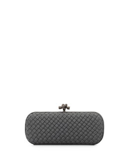 Woven Faille Large Knot Clutch Bag, Gray