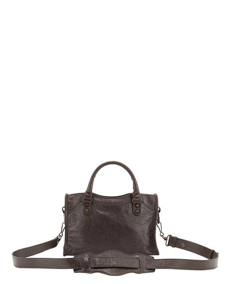 Metallic Mini City Shoulder Bag, Gray