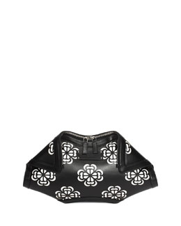 De-Manta Floral-Print Leather Clutch Bag, Black/White