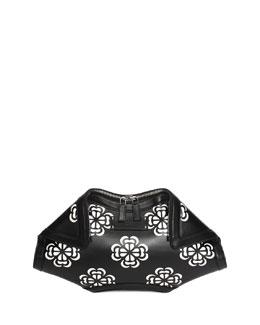 De-Manta Floral-Print Leather Clutch Bag, Black/White