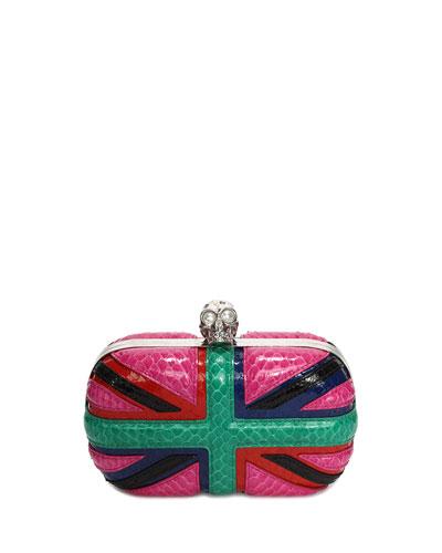 Britannia Snakeskin Skull-Clasp Clutch Bag