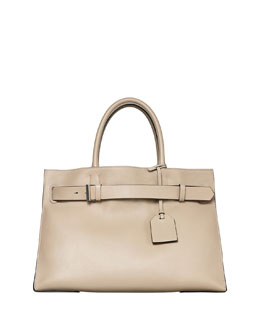 RK40L Large Belted Leather Tote Bag, Tan